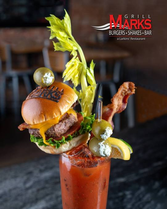 Burger and Bloody Mary at Grill Marks