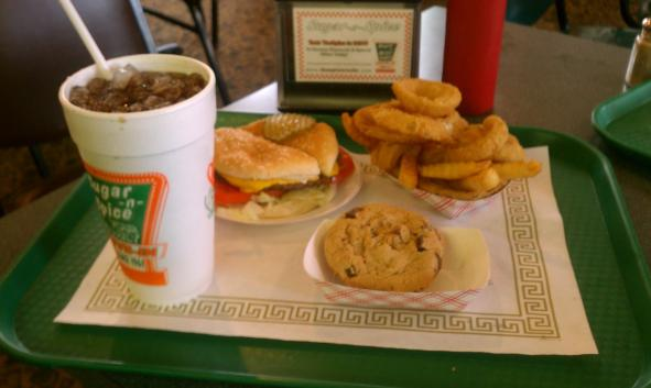 Sugar-n-Spice Hamburger, Onion Rings, and Delectable Chocolate Chip Cookie