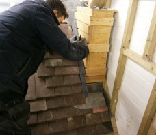 Working with felt, battens, tiles and lead flashing
