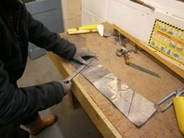 Preparing a lead flashing
