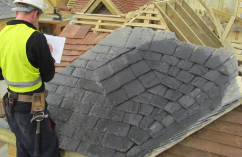Water testing random-sized slate roof