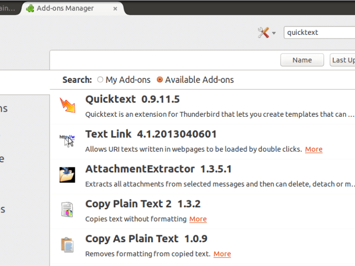 Searching for Quicktext from within Thunderbird