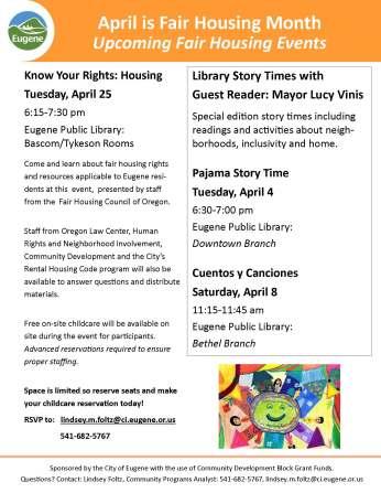 Fair Housing Month Events Flyer