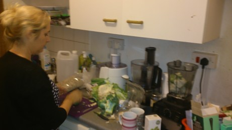 Stella preparing raw soup