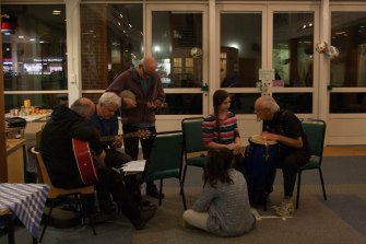 Musical performers jamming at soup