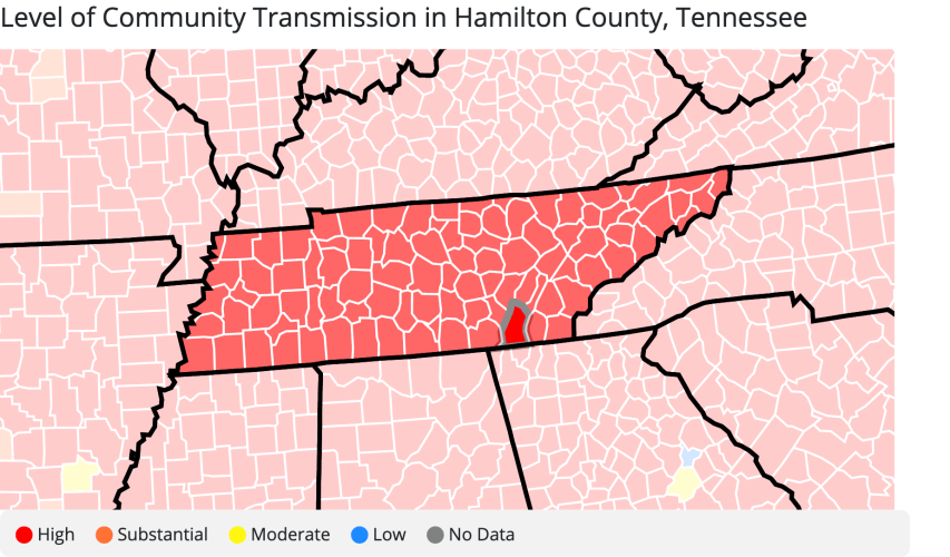 The CDC reported high COVID-19 transmission rates for Hamilton County during the week of September 25 to October 1. Sunday, October 3, 2021. (Image downloaded from CDC website)