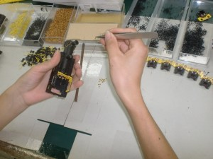 Production of the Adams O2, this image just shows the the level of detail and individual items being applied (picture courtesy and copyright Kernow model Centre)
