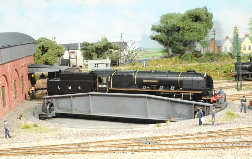 Douchess class No. 46236 'City of Bradford' is turned at Fisherson Sarum during trial runs for the 1948 Locomotive Exchange trials, she is coupled to a WD tender due to the SR not having any water troughs.