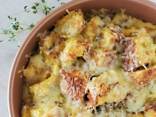 brunch casserole with gruyere cheese and caramelized onions