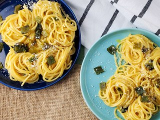 Carbonara with Cotija Cheese and Roasted Poblano Peppers Feature