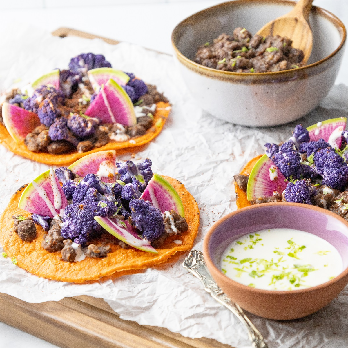 Tostadas with Purple Cauliflower and Black Beans 1x1 45