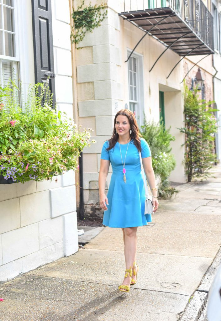 blue fit and flare dress - charleston sc