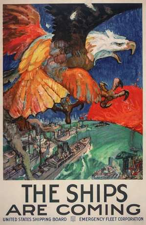 This promotional poster was issued between 1914 and 1918 by the Emergency Fleet Corporation (EFC), which was renamed the U.S. Shipping Board Merchant Fleet Corporation in 1927. Many boats from the huge shipbuilding effort in WWI were abandoned in Mallows Bay. Illustration by James H. Daugherty.