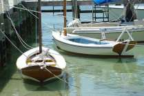 Dinghies tied to the dock at Abaco. Photo: Chuck Baier.