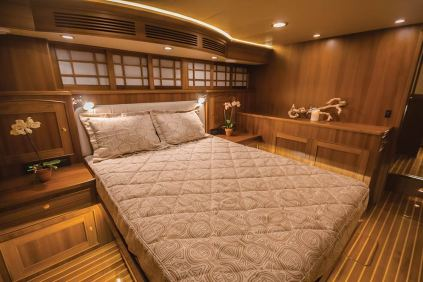 Shoji-inspired overhead storage in the master stateroom reflects the Asian influence. Photo: jlambertphotos.com