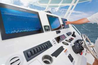 Naval architect Lou Codega designed the 41 specifically for Yamaha's Helm Master system with joystick control and a complete electronics package at the helm.