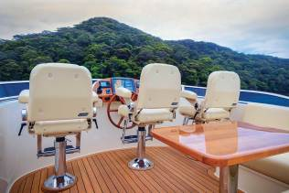 Palm Beach 65 Three matching Stidd chairs on the flybridge ensure comfort for the skipper and mates. Photo credit: Andrea Francolini