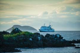 The MV Eclipse, a luxury 48-passenger ship, sailing around the Galapagos. Photo Credit: Jad Davenport