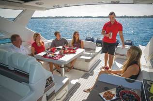 Multiple seating areas bow to stern enable group or private conversations as desired.
