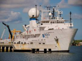 NOAA ship Okeanos Explorer berthed at the NOAA Ford Island facility located in the middle of Pearl Harbor, Hawaii