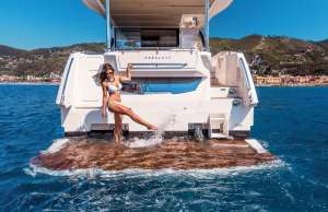 Absolute 50 Fly, swim platform on the Absolute 50 Fly, swim, aft deck.