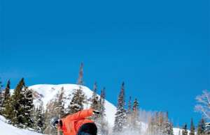 Snowboarder-on-Groomer in Park City Utah