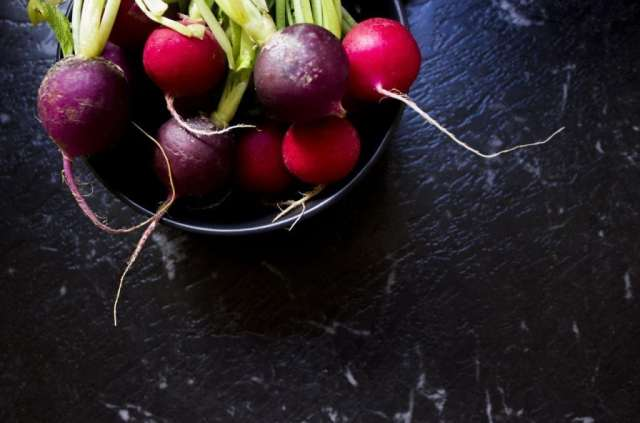 Radishes go great on a baby lettuce salad