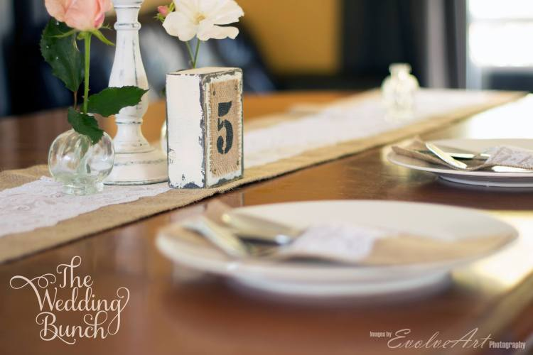 burlap and lace table setting for wedding