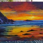 Randall Holbrook - Dana Strand Sunset, oil on board
