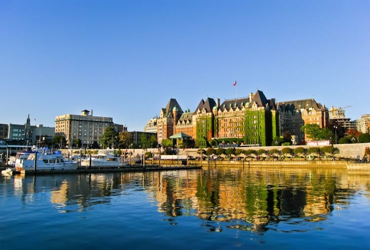 View of Inner Harbour of Victoria, Vancouver Island.