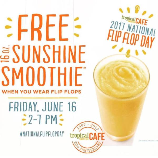 Free 16oz Sunshine Smoothie at Tropical Smoothie Cafe 7/16/17