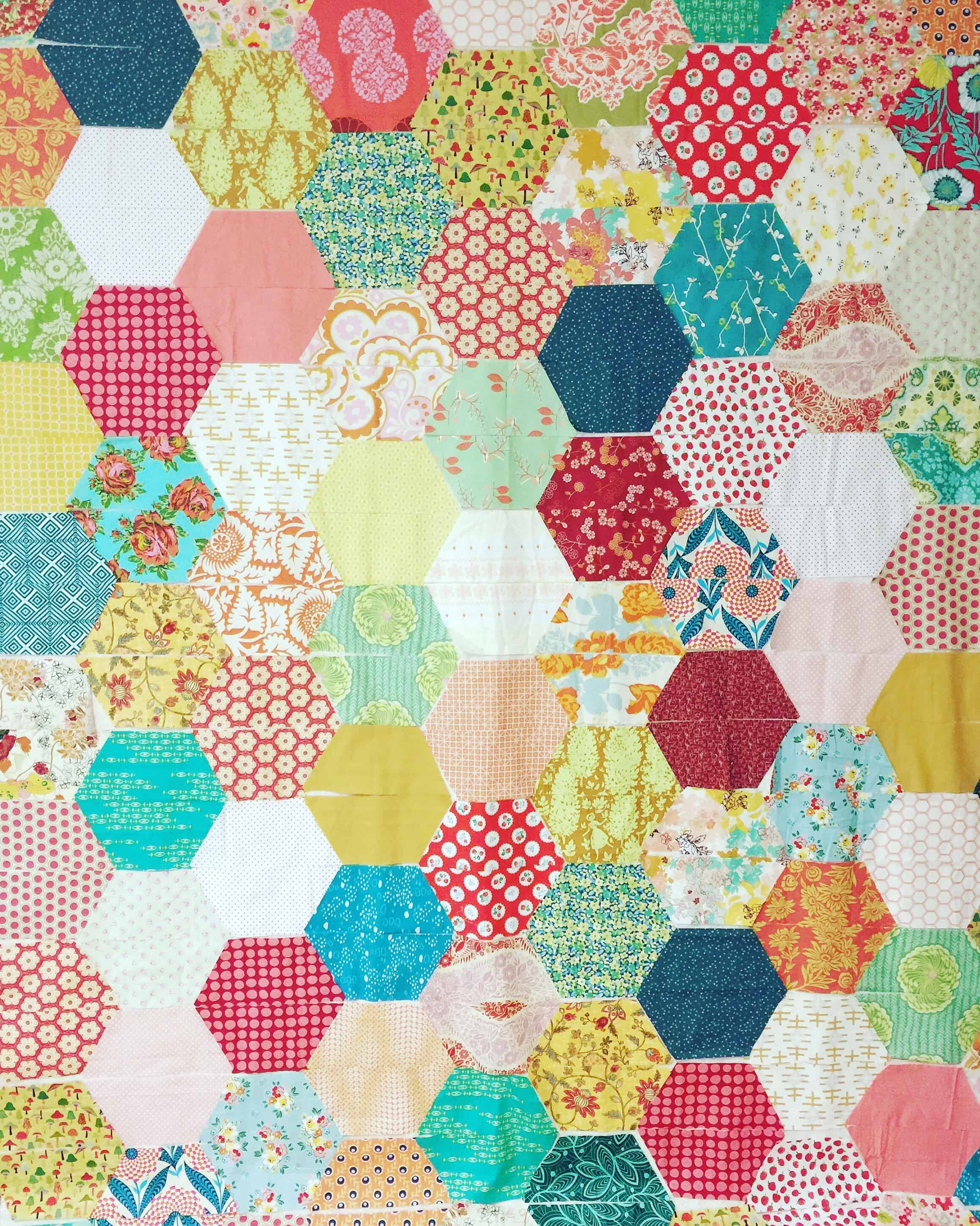 Free Quilt Pattern For Hexagon : How to make a hexagon quilt with half hexies free quilt pattern 5 different sizes