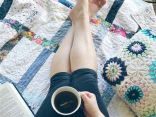 Good Girl with legs, tea, and book blue