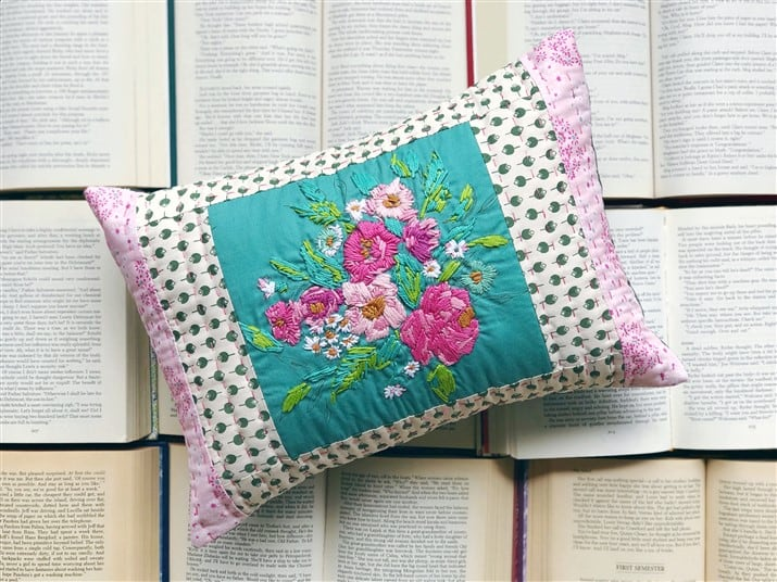 Why I LOVE embroidery – Signature fabrics Embroidery Pillow – ( sewing finish )
