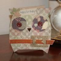 Autumn Owl Birthday Card with Envelope