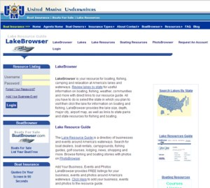 Screen shot of the Lake Resource main page.