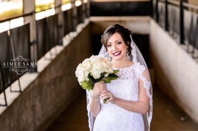 Pretty Bride with White Bouquet