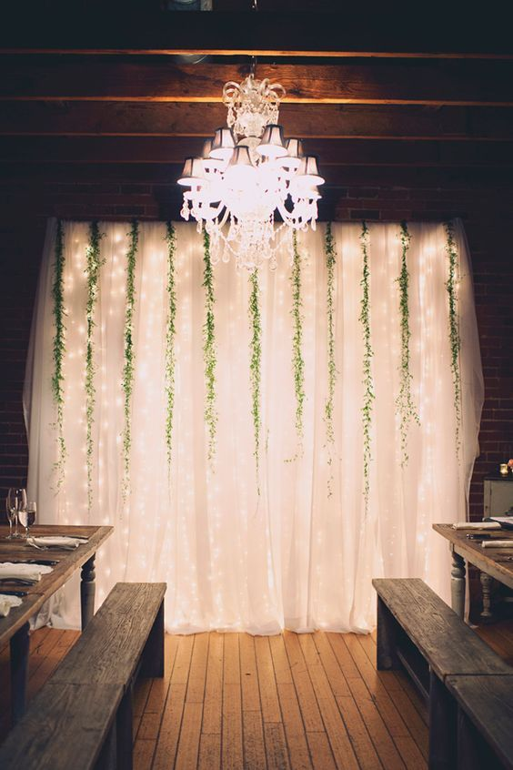 Wedding Drapery With Twinkle Lights & Greenery