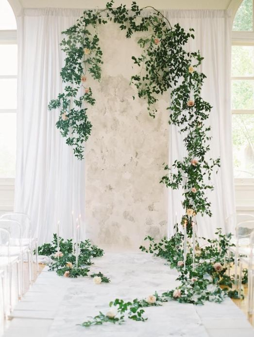 Climbing Wall Foliage Wedding Florist