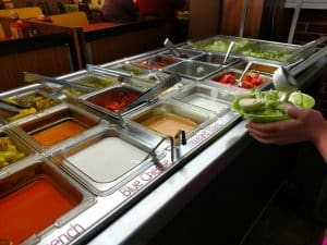 salad bar at the Wheel-In Restaurant