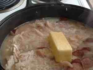 Adding butter to Chicken bog