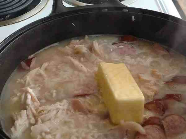 Adding butter to Chicken bog