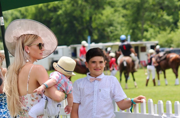 Lady and children at Victory Cup Polo Match Nashville