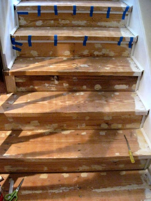 The Down D*Rty On The Stair Project Southern Hospitality | Replacing Particle Board Stair Treads | Basement Stairs | Carpeted Stairs | Plywood | Stair Nosing | Stair Case