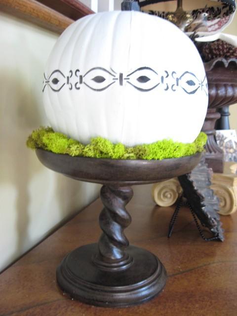 stenciled white pumpkin