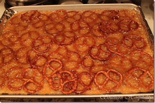 caramel over pretzels