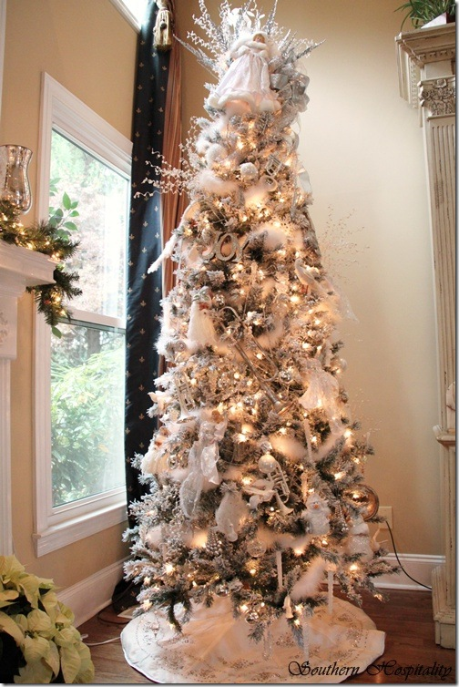 Merry Christmas A White And Silver Christmas Tree