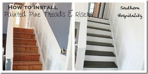 Week 20 How To Install New Stair Treads Southern Hospitality | Southern Yellow Pine Stair Treads | Hazardous | Stained Pine | Black Stained | Staining | Bullnose