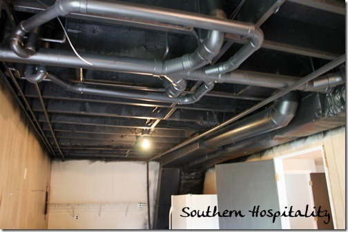 exposed ceiling lighting basement industrial black. Black Laundry Room Ceiling AFTER Exposed Lighting Basement Industrial E
