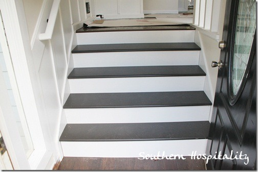 foyer painted pine stairs with white risers